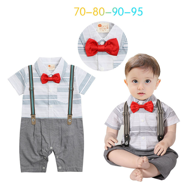 07ed69592c19 Baby boys striped short sleeve cotton rompers with belt fashion ...