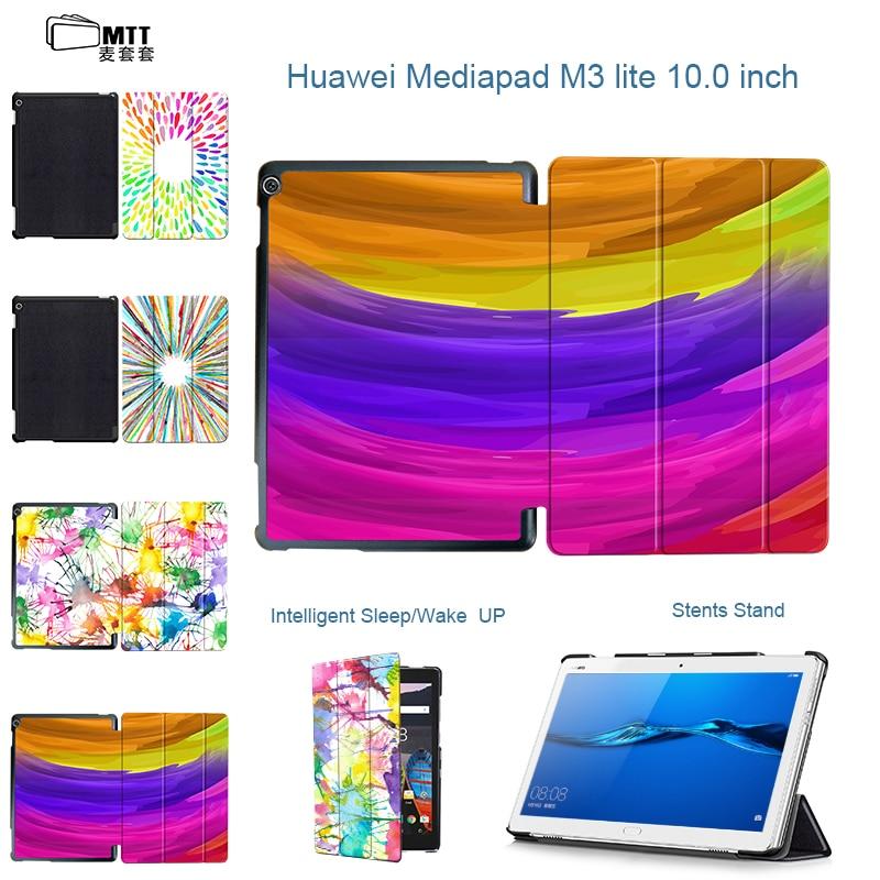 MTT Print Aquarelle Case For Huawei MediaPad M3 Lite 10 BAH-W09 BAH-AL00 10.1'' Tablet Leather Cover Protective Case Sleep Wake painted flip pu leathe case cover for huawei mediapad m3 lite 10 youth bah w09 bah al00 10 1 inch tablet stylus pen