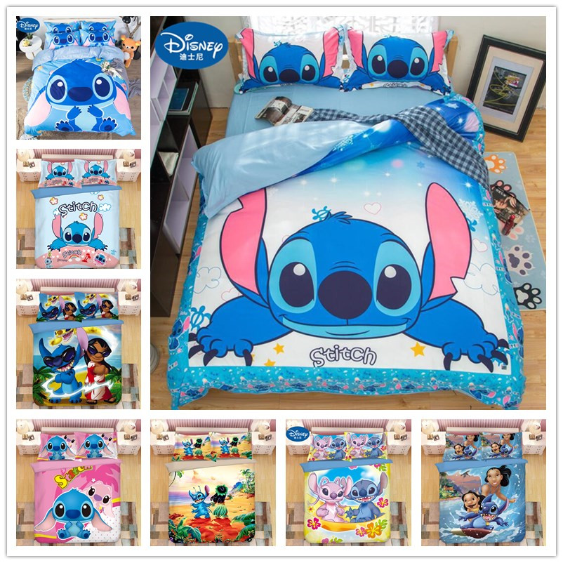 2019 New Lilo And Stitch Bedding Set  Single Double Twin Full Queen King Size Cartoon Girls Bed Cover Pillow Cases Room Decor
