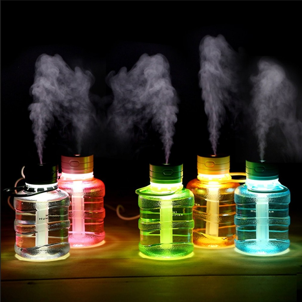 Lovely Cute Mini Bucket Shape USB Humidifier LED Night Light Home Office Car Humidifiers Mist Maker Air Purifier portable mini air humidifier purifier night light with usb for home office decorations