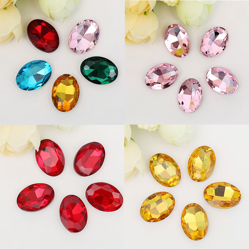 10 Metal Oval Faceted Colour Oval drop Embellishments Diamante Craft DIY