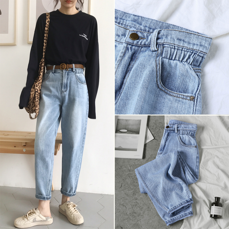c03f2b3a9383a Genuine BUMPERCROP high waist vintage elastic trousers women jeans boy  friend style simplee womens slim fit blue spring new 2019 for sale in  Pakistan
