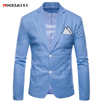 Blazers Mens Suits Flax Plus size M 4XL Chest 92 116cm Slim Full sleeve Men suit Linen Cotton Solid Casual Autumn Suits 9612