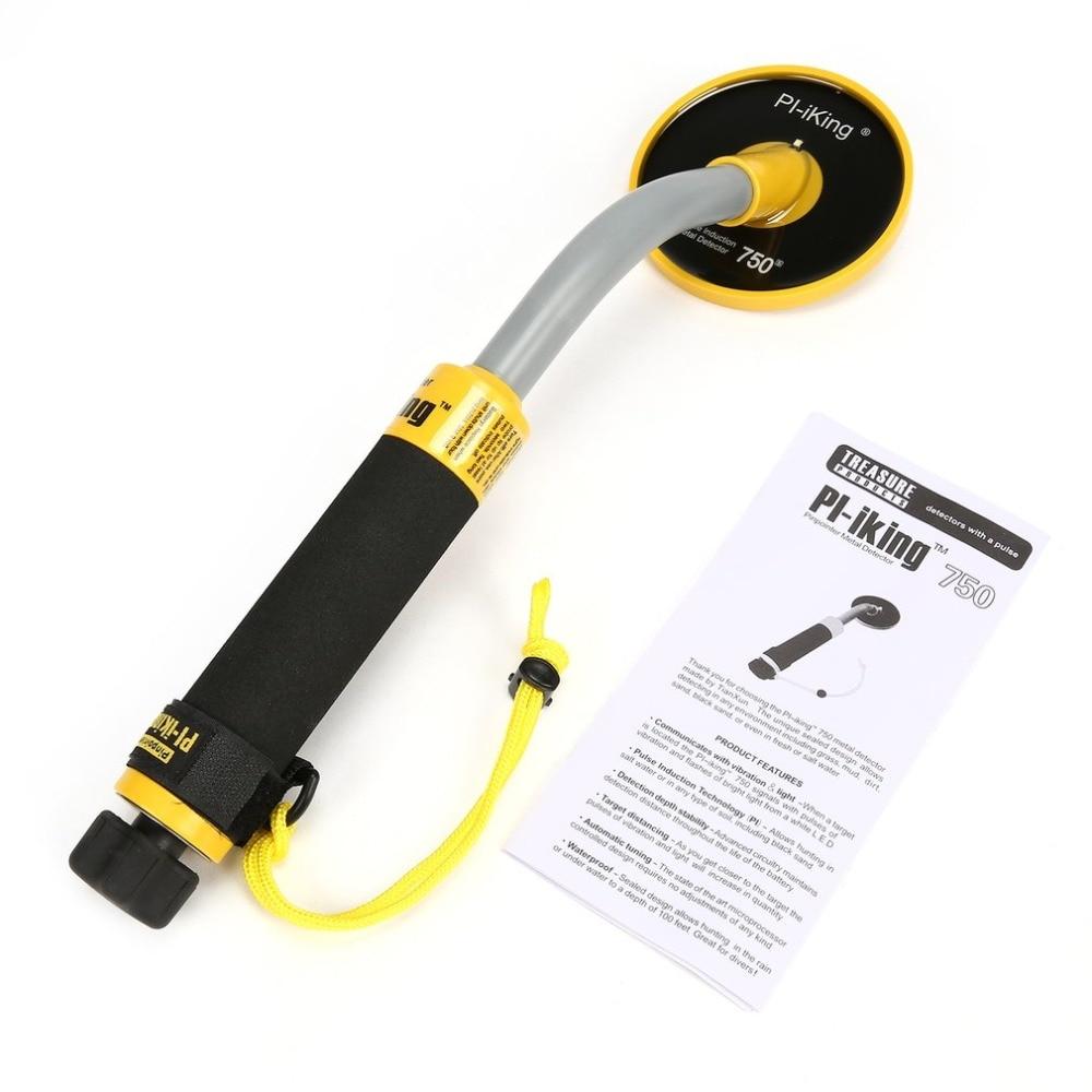 Metal Detector PI 750 Handheld Pulse Induction Underwater Waterproof Gold Coin Treasure Search Vibration Light Alarm