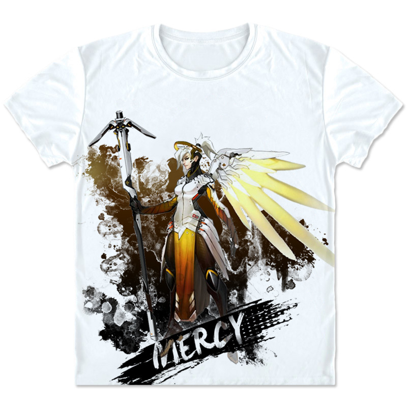 New Game OW Costumes Mercy Cosplay T shirt Fashion Casual Angela Ziegler Tees Men/Women Short T shirt Clothings High quality