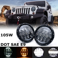 7 Inch 105W LED Headlight Hi Lo Beam DRL For 97 16 Jeep Wrangler JK TJ
