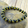Beautiful 8mm - 14mm Black Agate Om mani padme hum Lucky Words Amulet Blessing Bracelet Stretch Bracelets Elastic Jewelry