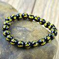 Beautiful 8mm - 14mm Black Agate Om mani padme hum Lucky Words Amulet Blessing Bracelet Stretch Bracelets Elastic Jewelry