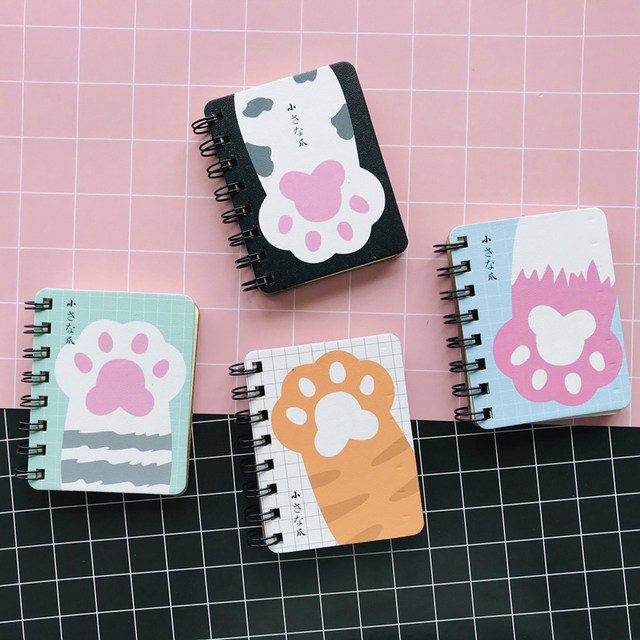 1PC Kawaii Cute Cat Paw Portable Notebook School Office Supply Plan Message Writing Memo Pads Kids Gift Student Stationery