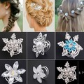 2017 Direct Selling Rushed Plant 6pcs Fashion Bridal Wedding Prom Crystal Flower Hair Pins Swirl Spiral Twist Jewelry Free Ship