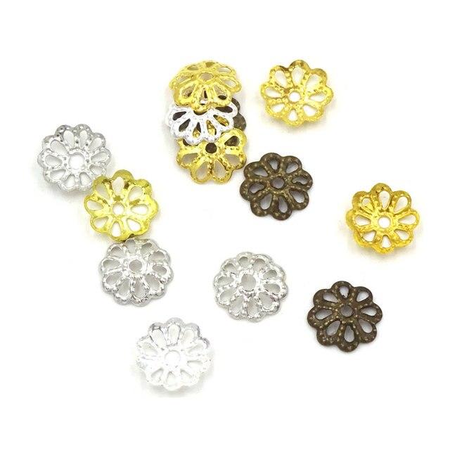 6184e20109 7mm Fiore Bead Caps Monili Del Mestiere Che Fanno Materiale Per Bigiotteria  Perline Accessori 1000 pz