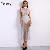 Yesexy 2019 Women Sexy Summer Tassel Playsuits High Neck Sleeveless Lace See Through Glitter Tassel Bodysuit VR8901