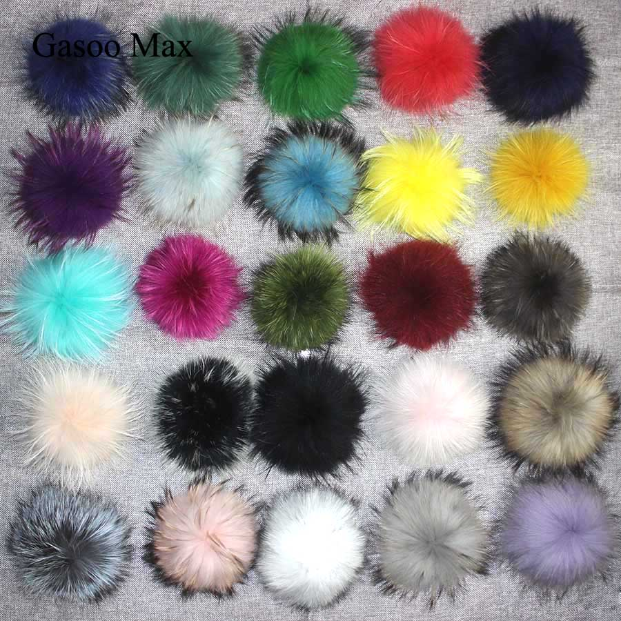 DIY 13cm 15cm Real Raccoon Fur Pompom For Knitted Scarf Autumn Winter Scarves Genuine Fox Fur Pom Pom For  Hats Scarves&Wraps
