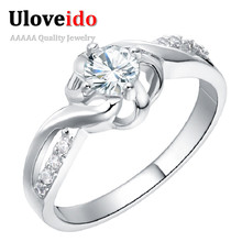 uloveido one piece crystal costume jewelry rings for women aneis femininos engagement woman ring silver new year gifts 2017 j249