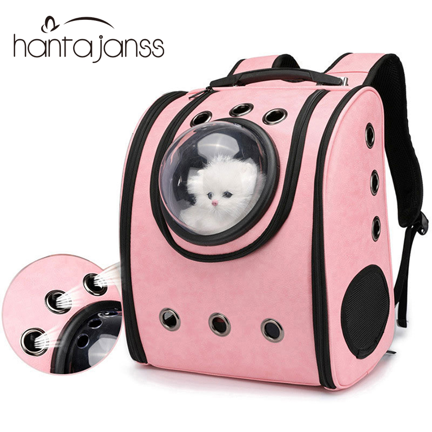 Cat Backpack Breathable Travel Leather Shoulder Bag for Pet Cat Soft Capsule Bag Carrying Outdoor Portable