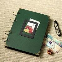 Hecho a mano tamaño grande álbum de fotos de BRICOLAJE tipo pasta de personalidad de la vendimia negro o postal arte de cubierta verde