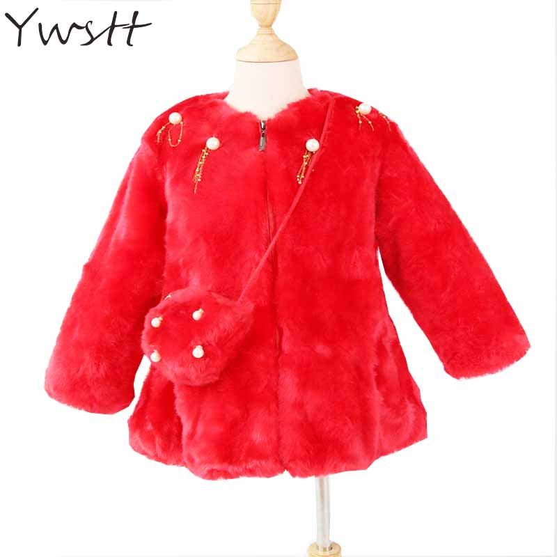 Ywstt Girls Winter Warm Jacket 2017 NEW Child Fashion Imitation Fur Pearl Jacket + Cute Bag