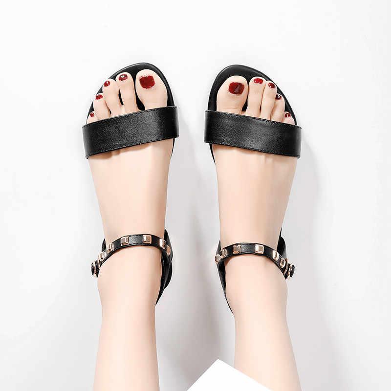 Asumer Big Size 34-42 Zomer Sandalen Vrouwen Gesp Klinknagel Dames Schoenen Plat Met Lederen Schoenen Vrouwen 2020 vrouwen Sandalen