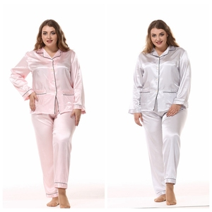 Image 3 - JULYS SONG Large Size Ladies Silk Pajamas Set Long Sleeved Cardigan Loose Two Piece Female Nightwear Womens Sleepwear