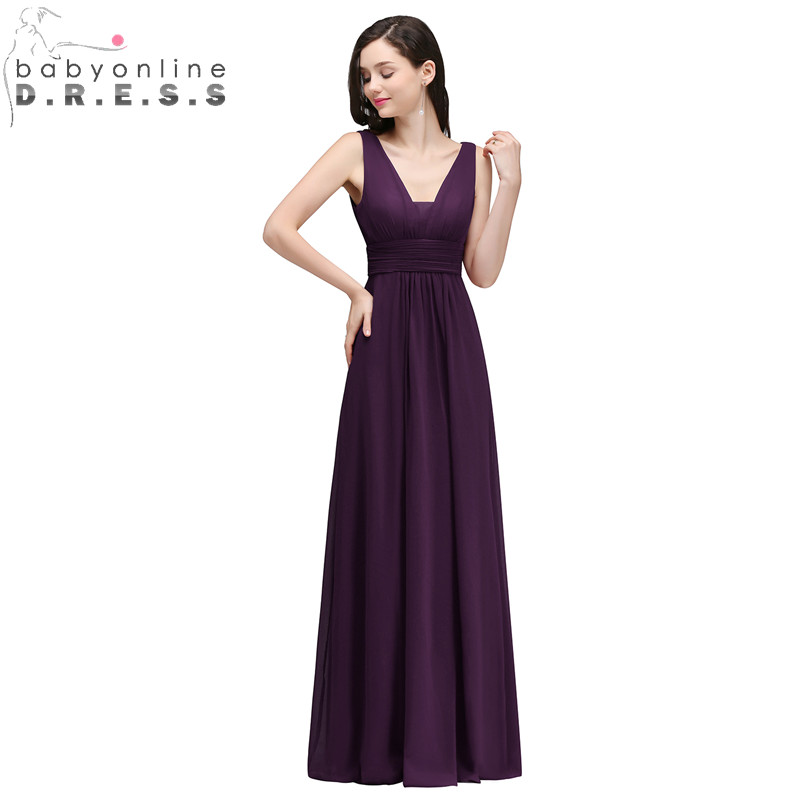 Babyonlinedress Sexy V Back Purple Chiffon Bridesmaid Dresses Cheap Beach Long Wedding Party Dresses with Pleat