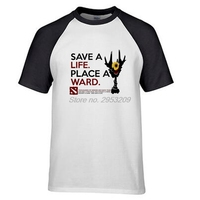 DotA 2 אמנות של מחלקה להציל חיים מקום מחלקה Mens באיכות גבוהה משחק חולצה כושר חולצת T מקרית רינגר tees
