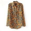 2017 Primavera Outono Mulheres da Cópia do Leopardo Blusa Camisas Manga Comprida Blusa Femininas Blusa De Renda Senhora Casual Tops Camisa