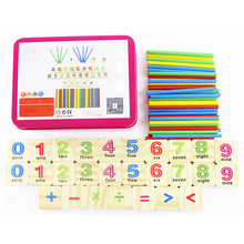 New Baby toys Early Learning Counting Educational Toy Children Wooden Numbers Mathematics Toys with Iron Box