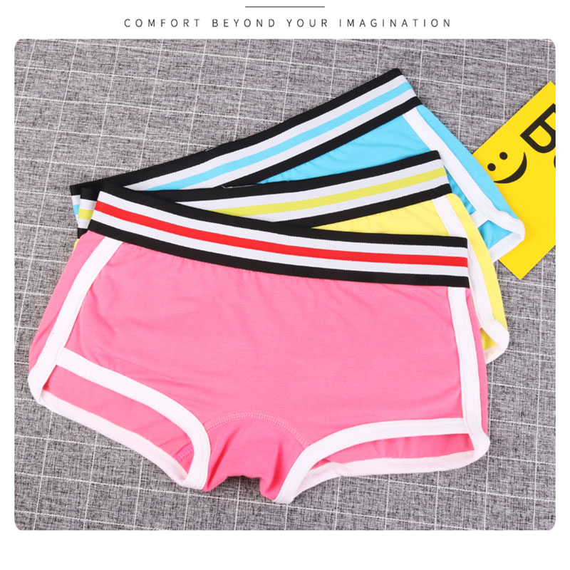 3PCS/lot   Panties   Women Combed Cotton Punk solid safety Underwear wide belt Girl Casual Briefs Sexy Lingerie Female Underpants