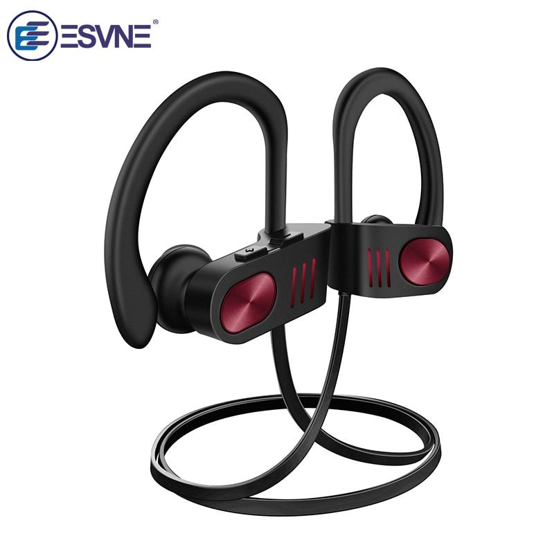 ESVNE HiFi Stereo Wireless Headphones Bluetooth 5.0 Earphones IPX7 Waterproof Headset Sport Earbuds Noise Canceling Headphone