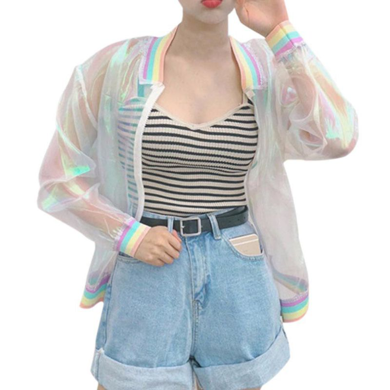 2017 font b Women b font Summer Jacket Laser Casual Fashion Rainbow Collar Zipper Loose Sunscreen