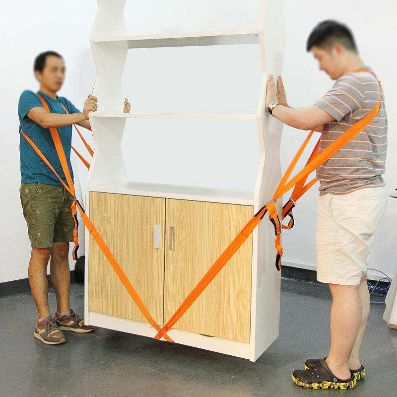 2 Pièces Épais D'épaule De Levage et Déménagement Sangles pour le Transport Meubles, appareils, matelas etc. Longueur: 2.7 m-Orange