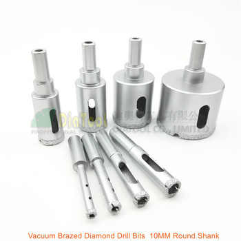 цена на DIATOOL 8pcs Vacuum Brazed Diamond Drill Core Bits Drilling Hole Saw Granite Marble Stone Ceramic Glass Masory 10mm Round Shank