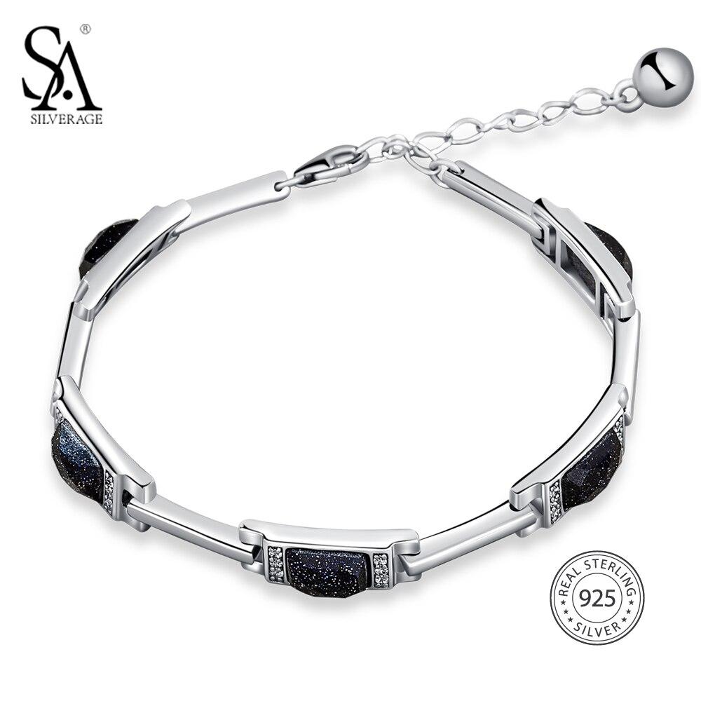 SA SILVERAGE 925 Sterling Silver Rectangle Stone Chain Bracelets Bangles Fine Jewelry 925 Silver Chain Link Bracelet