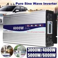Inverter 12V/24V to AC 220V 3000/4000/5000/6000W Voltage transformer Pure Sine Wave Power Inverter Converter LED Display