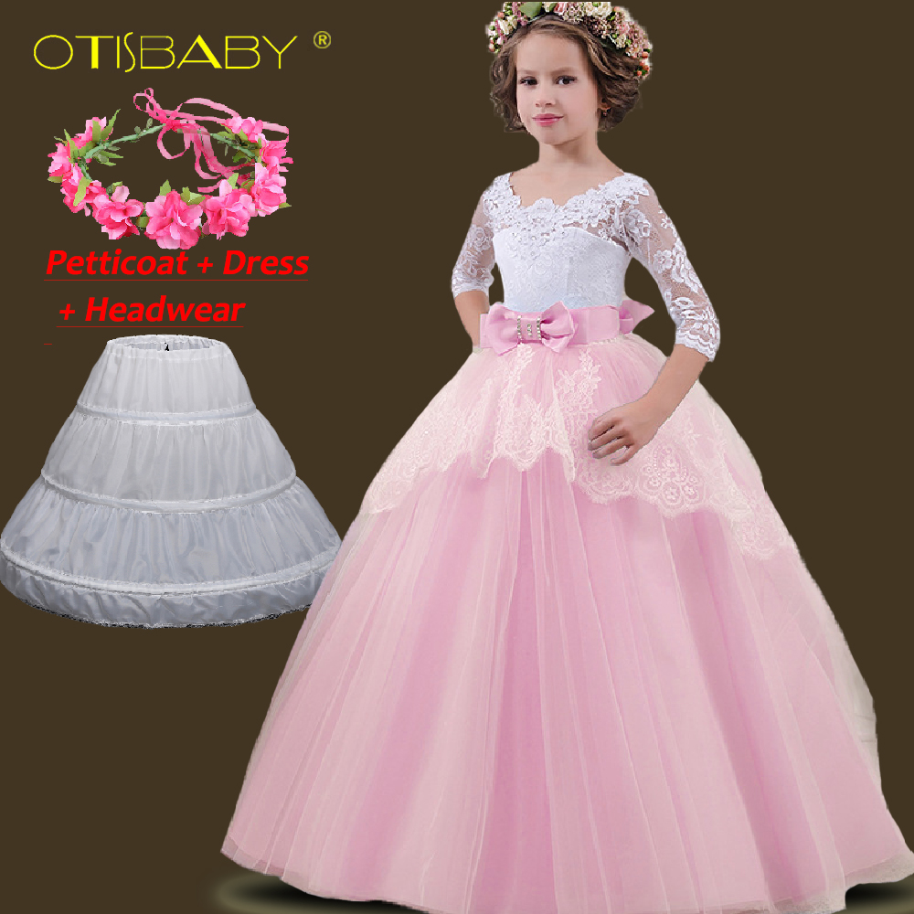 23dc34c4f4e Vestidos de encaje de invierno con cola hueca para niñas princesa vestidos  de novia florales para niños vestidos largos de fiesta para adolescentes ...