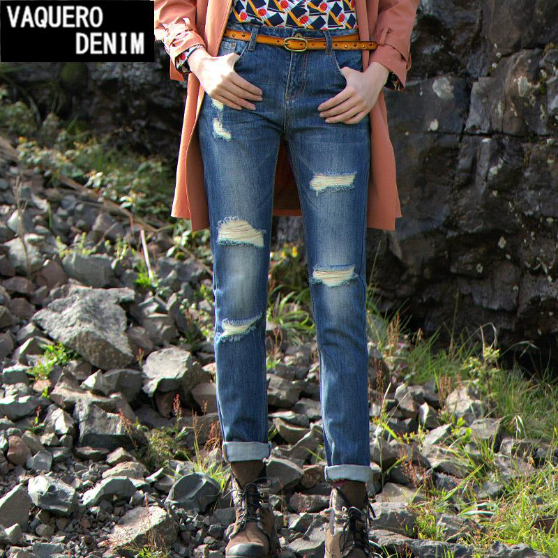 26-34 Womens Slim Ripped Denim Harem Pants 2015 Casual Boyfriend Mid Waist Washed Jeans Ladies Pencil Hole Trousers setwigg womens ripped thick cotton denim jeans blue washed holes boyfriend style female casual jeans pants sg25