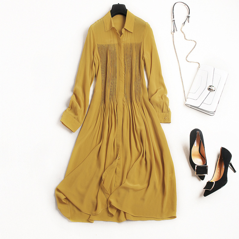 New arrival 2018 spring summer fashion women long sleeve chiffon dress front ruched single breasted shirt dresses yellow купить недорого в Москве