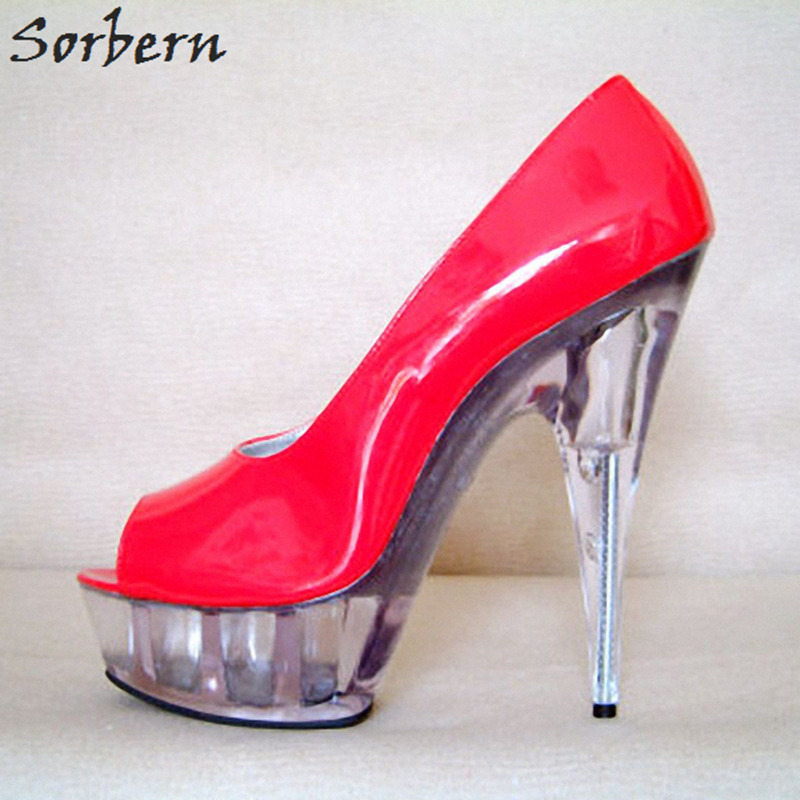 4709adf43c2a Sorbern Sexy Red Shoes Women Open Toe Spring 2018 New Clear Heels 15Cm 5Cm  Platform Ladies Shoes Pump Size 12 Runway Shoes Diy - aliexpress.com -  imall.com