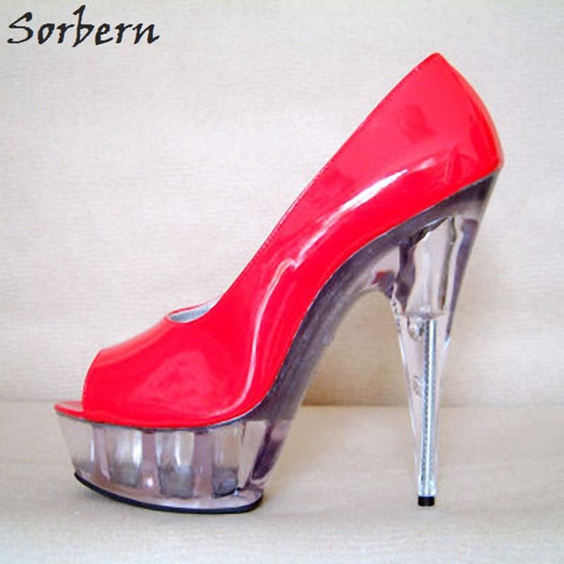 Здесь продается  Sorbern Sexy Red Shoes Women Open Toe Spring 2018 New Clear Heels 15Cm/5Cm Platform Ladies Shoes Pump Size 12 Runway Shoes Diy  Обувь