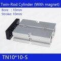 Компактный воздушный цилиндр TN10 * 10-S  диаметр 10 мм  ход 10 мм  TN10x10-S пневматический цилиндр двойного действия
