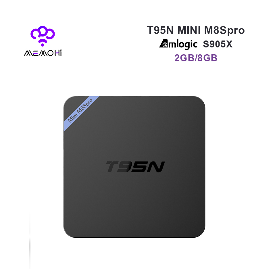 Prix pour MEMOHi MEMOBOX T95N Mini M8S PRO Android 6.0 Smart TV Box Amlogic S905X Quad Core 4 K H.265 KODI DDR3 2G mem 8G ROM Set-top boîte