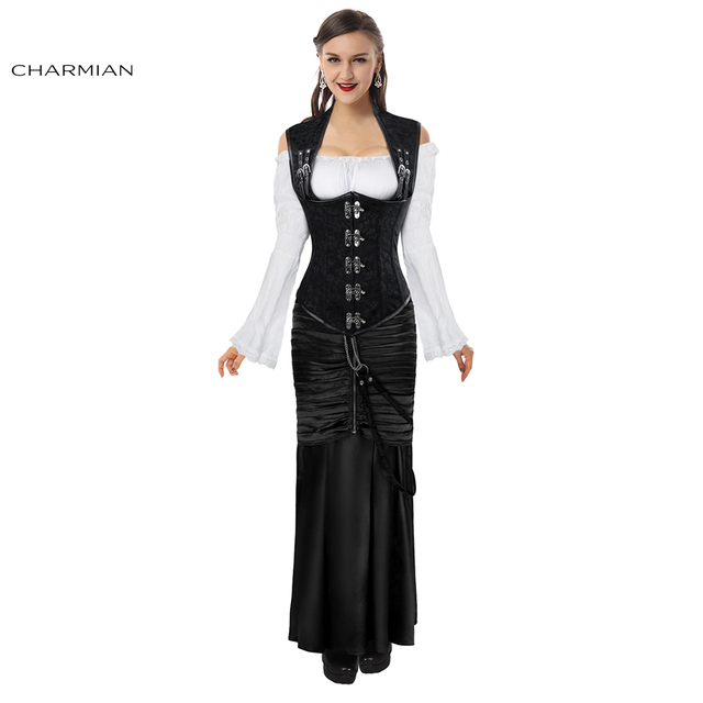 Charmian Women's Gothic Retro Steampunk Corset and Long Satin Skirt Set Sexy Black Steel Boned Underbust Corsets and Bustiers