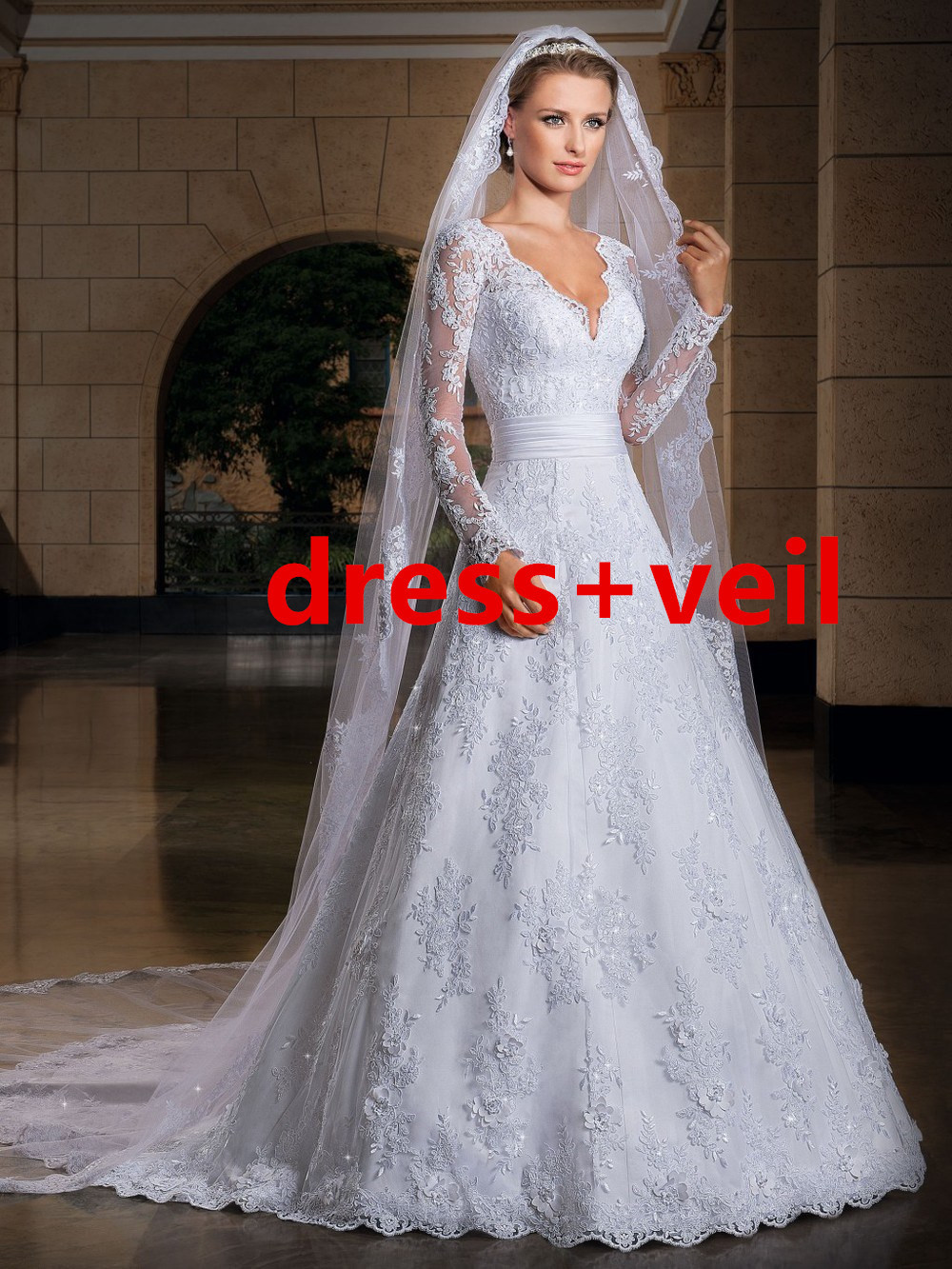 vestido de noiva the new 2015 long sleeve wedding ...