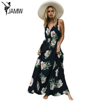 Long Dresses Boho Sexy Ladies Turquoise Tropical Leaf Print Sexy V Neck Maxi Beach Summer Dress
