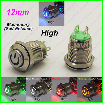 50PCS 12MM Metal Switch With LED 6V/12V/24V Power Start Push Button Momentary Auto Reset Released Indication Button High Head