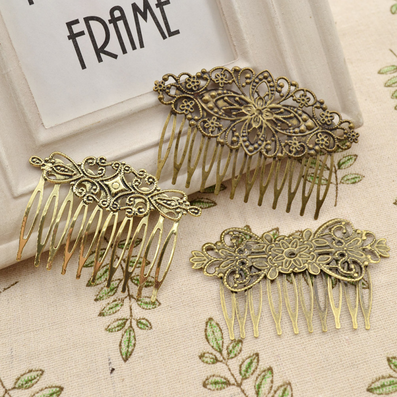 fashion lychee 3pcs  Antique Bronze Tone Vintage Iron Metal Hair Comb Women Hair Accessories Hair Jewelry