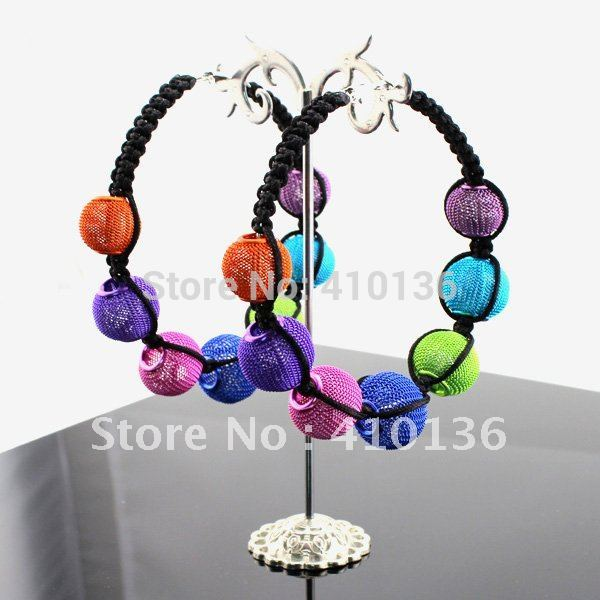 SER2019 Hot Sale Basketball Wives Earring Poparazzi Mesh Balls Macrame Hoop Earring Multicolor Free Shipping