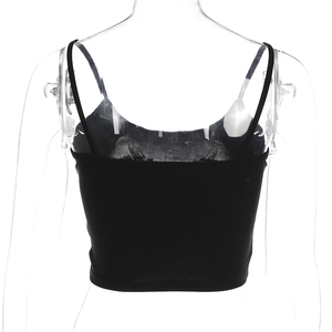 Image 5 - Weekeep Women Cropped Dragon Print Cami Summer Sexy Black Spaghetti Strap Backless Crop Top 2018 Streetwear Bralet Tops Women