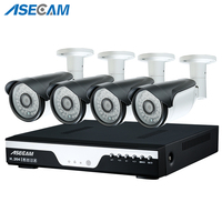 4ch HD 4MP CCTV Camera DVR Video Recorder AHD Outdoor Black Metal Bullet Security Camera System Kit P2P Surveillance Email alert