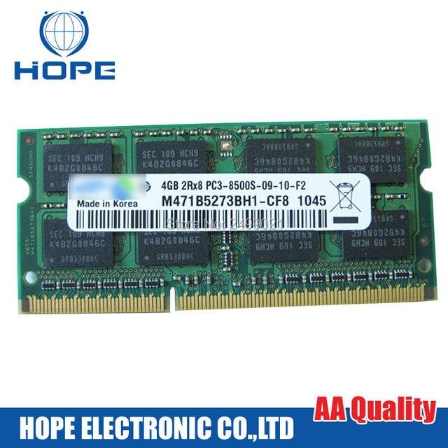 Para Sumsung DDR3 PC3-8500 S-09-10-F2 M471B5273BH-CF8 1066 4 GB 2RX8 Memoria Chip Bar Para Macbook Pro A1278 A1286 A1297